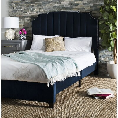 Musgrave Upholstered Panel Bed Color: Navy, Size: Queen