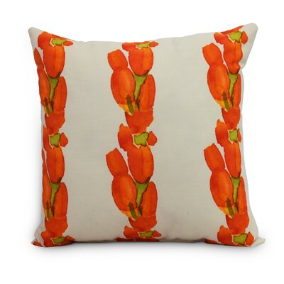 Quast Tulip Stripe Throw Pillow Color: Orange, Size: Large, Location: Outdoor