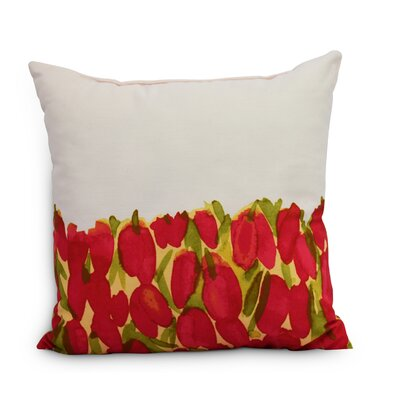 Quast Tulip Throw Pillow Color: Red, Size: Small, Location: Outdoor