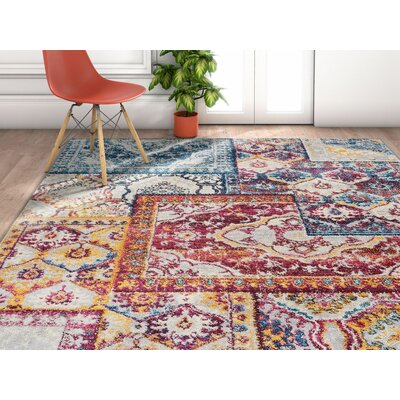 Redus Patch Work Ogee Tile Work Blue/Orange Area Rug Rug Size: Rectangle 33 x 47