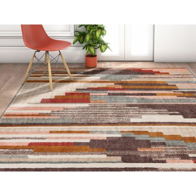 Angie Distressed Geometric Lines Gray/Brown Area Rug Rug Size: Rectangle 53 x 73