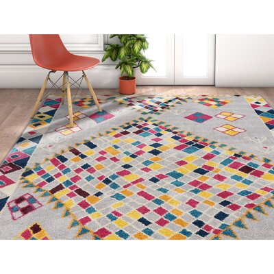 Angie Geo Shapes Gray Area Rug Rug Size: Rectangle 53 x 73