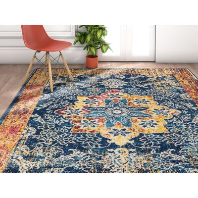 Ceri Medallion Center Vintage Distressed Blue/Brown Area Rug Rug Size: Rectangle 53 x 73