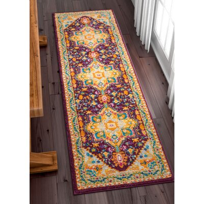 Ceri Vintage Authentic Medallion Distressed Purple Area Rug Rug Size: Runner 23 x 73