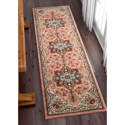 Ceri Vintage Authentic Medallion Distressed Pink Area Rug Rug Size: Runner 23 x 73