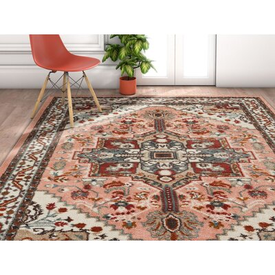 Ceri Vintage Authentic Medallion Distressed Pink Area Rug Rug Size: Rectangle 710 x 106