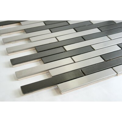 Roms 0.75 x 4 Metal Mosaic Tile in Gray/White