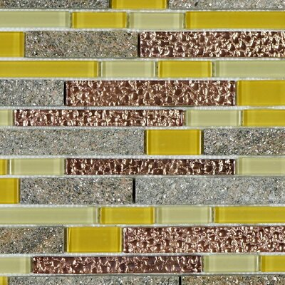 Random Sized Mixed Material Tile in Yellow/Brown