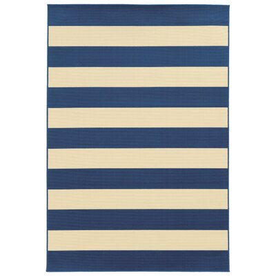 Eita Stripe Navy/Ivory Indoor/Outdoor Area Rug Rug Size: Rectangle 67 x 96