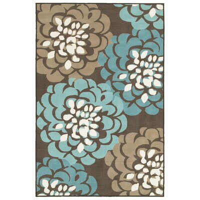 Gallegos Floral Gray/Blue Area Rug Rug Size: Rectangle 67 x 9