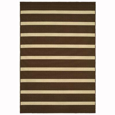 Galligan Stripe Brown/Ivory Indoor/Outdoor�Area Rug