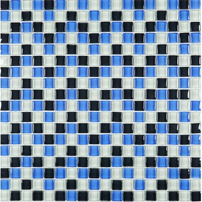 Mini Tiny 0.6 x 0.6 Glass Tile in Beige/Blue