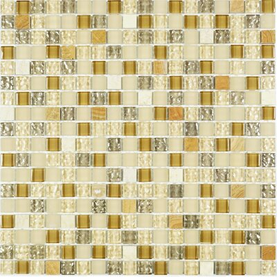 Mini Tiny 0.6 x 0.6 Mixed Material Tile in Beige/Gold