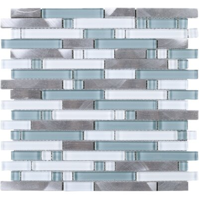 Series Thread Random Sized Mixed Material Tile in Blue/Gray