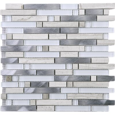 Series Random Sized Mixed Material Tile in Gray/Beige