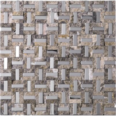Series 0.4 x 1.2 Mixed Material Tile in Brown/Silver