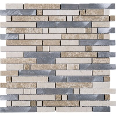 Series Thread Random Sized Mixed Material Tile in Beige/Gray