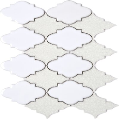 Roman Art Series Mario 4 x 4 Mixed Material Tile in Beige/White
