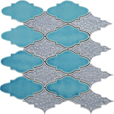 Roman Art Series Mario 4 x 4 Mixed Material Tile in Gray/Blue