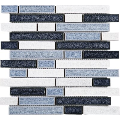 Roman Art Series Mario Random Sized Mixed Material Tile in Blue/White