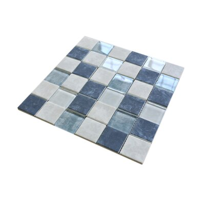 Recycle 2 x 2 Mixed Material Tile in Beige/Blue