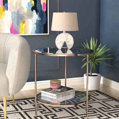 Jamiya End Table Color: Gold/White