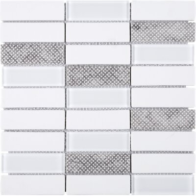 Recycle 1.3 x 4 Mixed Material Tile in White/Gray