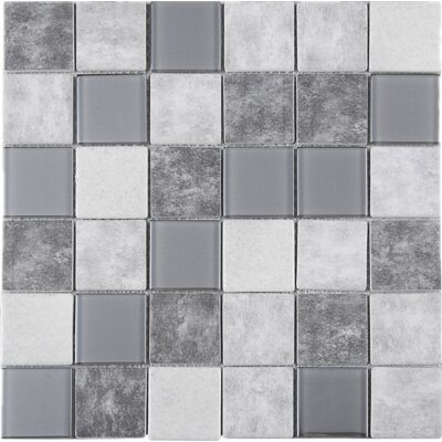 Recycle 2 x 2 Mixed Material Tile in Gray/Beige