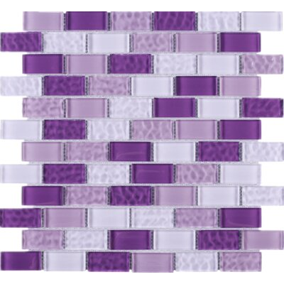 Cockles 1 x 2 Glass Mosaic Tile in Purple