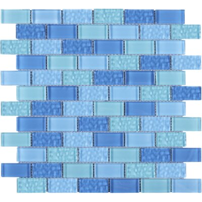 Cockles 1 x 2 Glass Mosaic Tile in Blue