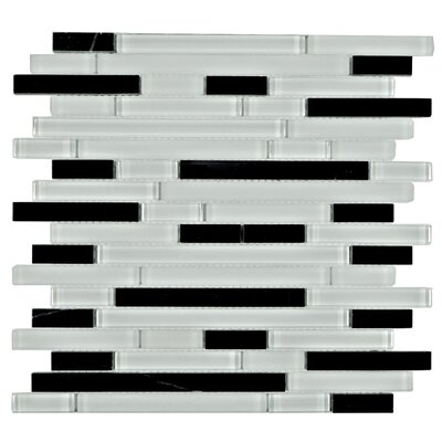 Brick Random Sized Marble Mosaic Tile in Black/White
