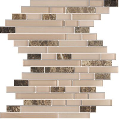 Rom Brick Emperador Random Sized Marble Mosaic Tile in Brown