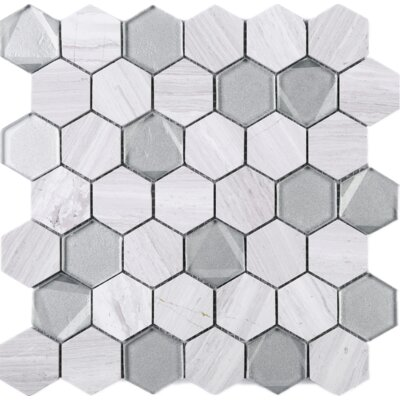 Hexagon 2 x 2 Wooden Marble Mosaic Tile in White/Gray