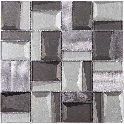 Random Sized Metal Mosaic Tile in Gray