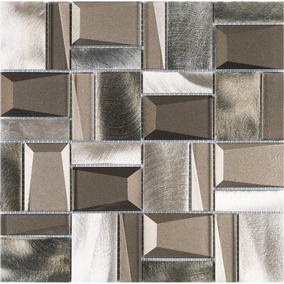 Random Sized Metal Mosaic Tile in Gray/Gold