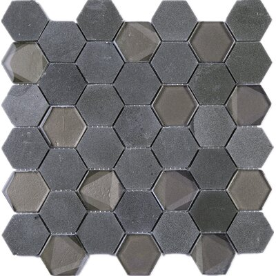 Hexagon 2 x 2 Marble Mosaic Tile in Gray