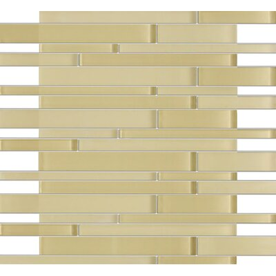 Rom Brick Random Sized Glass Mosaic Tile in Beige