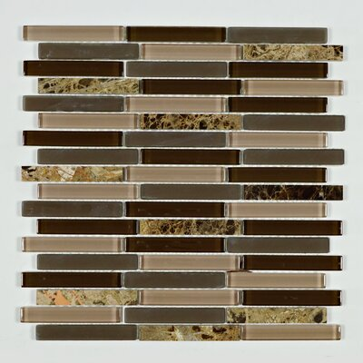 Rom Brick Truffle Random Sized Marble Mosaic Tile in Brown/Gold