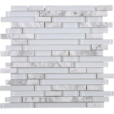 Random Sized Brick Marble Mosaic Tile in White