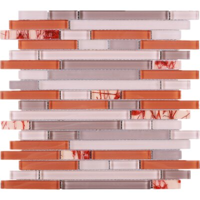 Random Sized Glass Mosaic Tile in Orange/Pink