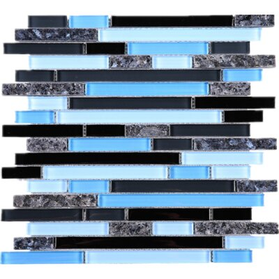 Random Sized Marble Mosaic Tile in Black/Blue
