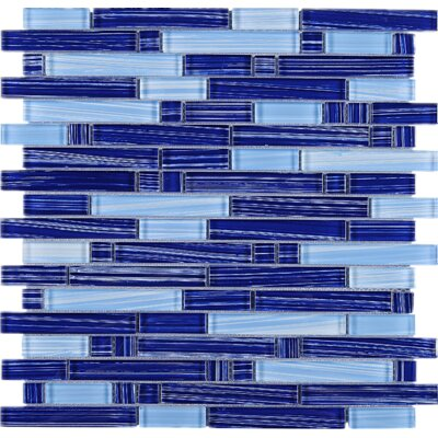 Stripe Random Sized Glass Mosaic Tile in Blue