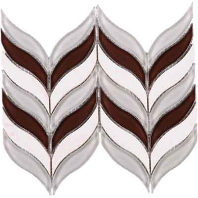 Leaf 1.7 x 3 Marble Mosaic Tile in Brown/Beige