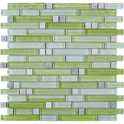 Stripe Random Sized Marble Mosaic Tile in Green