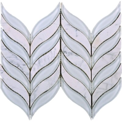 Leaf 1.7 x 3 Marble Mosaic Tile in White/Beige