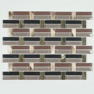 Tile Mix Random Sized Metal Mosaic Tile in Gray/Pink
