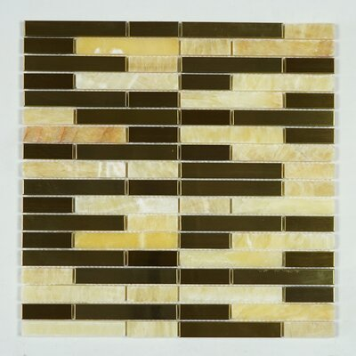 Honey Onyx Random Sized Mixed Material Tile in Gold/Copper