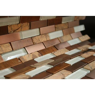 Rom 2 x 4 Mixed Material Tile in Brown