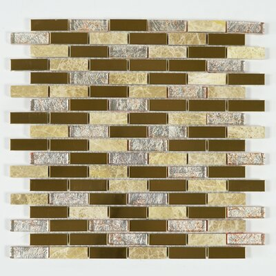 Emperador Galaxy 1 x 2 Mixed Material Tile in Gold/Silver
