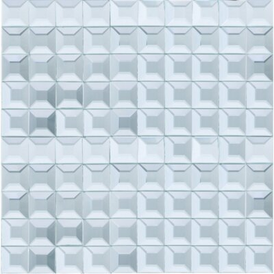 Grid Mirror 1 x 1 Glass Tile in Blue